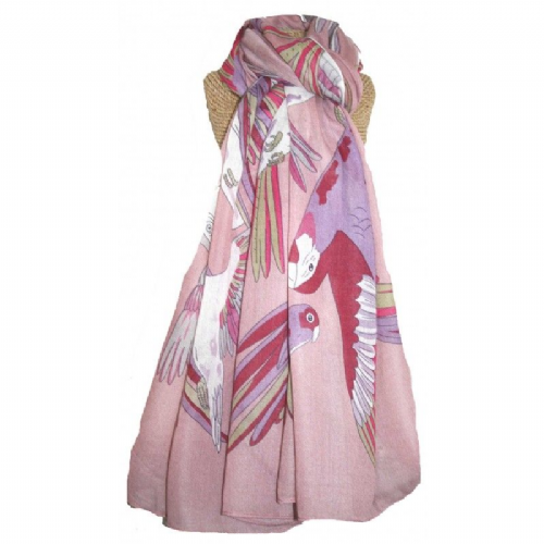 Lua Birds Scarf in Pink